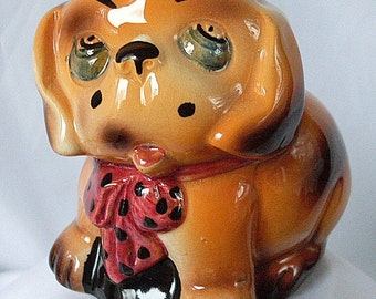 Puppy Dog Art Pottery Vintage England Figurine Ceramic Collectible