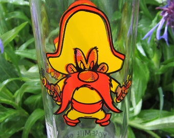1973 Pepsi Yosemite Sam WB Looney Tunes Glass Tumbler Classic Cartoon Vintage