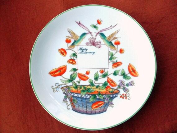 Vintage Shafford Happy Anniversary Plate Poppys Basket Hummingbirds Personalized