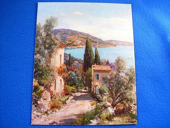 Winding Shore Lithograph Print by L Potronat.Vintage 8x10 Winde Fine Prints