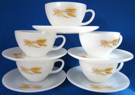 Fire King Teacup Anchor Hocking Glass Wheat Coffee White