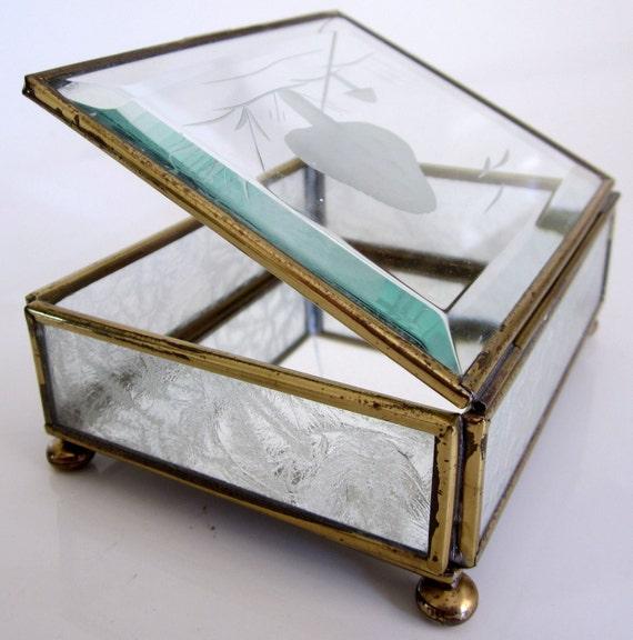 Jewelry Trinket Box Glass Brass Mirror Vintage Beveled Mushroom Cut Case Vanity
