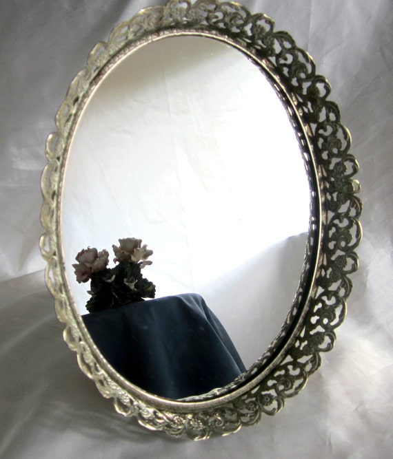 Dresser mirror filigree frame oval glass stand vintage silver for Standing glass mirror