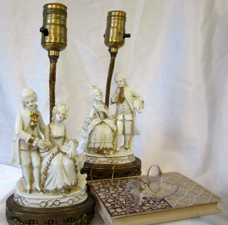 Vintage Victorian Porcelain Figurine Lamp Filigree Base