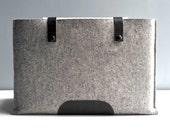 15 Inch Laptop Sleeve - Grey Wool Felt and Black Leather