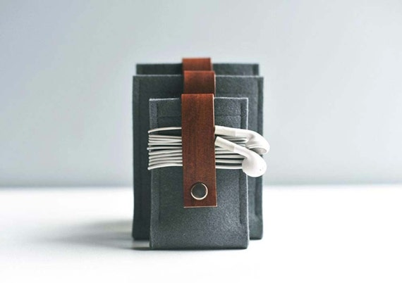 Ipod Nano Case - Gunmetal Gray Wool Felt with Brown Leather