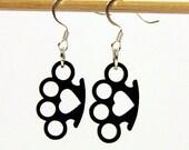 Brass Knuckles Tough Love Black Heart Charm Earrings Black on Silver Toned Hooks