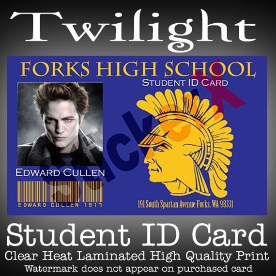 Twight Edward Cullen Forks High School Student Id Card By
