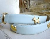 French Scotty Dog Baby Blue Leather Belt