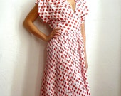 TED LAPIDUS French Designer 70s Vintage White  with Red Polkadots Dress