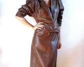 Girolle French Vintage 80s Brown Leather Emsemble/Jacket and  Pencil Skirt