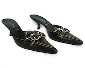 PRADA Vintage  Black Leather Kitten Heels Sandals