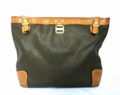 POURCHET French Vintage Olive Green and Leather  TOTE / Cabas