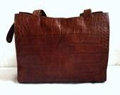 JANE French Vintage Brown Leather Tote / Shoulder Bag