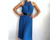 RADLEY Vintage Cobalt Blue Pleated Midi Dress