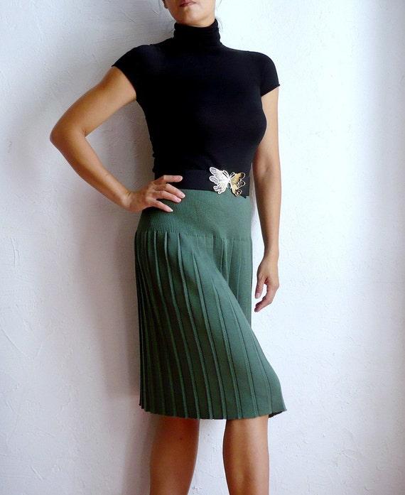French Merino Wool Pleated Skirt