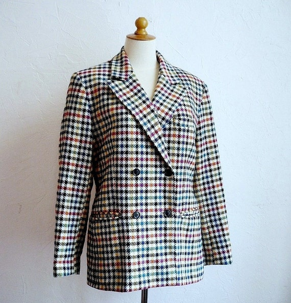 French Designer CACHAREL Colorful Houndstooth Wool Jacket