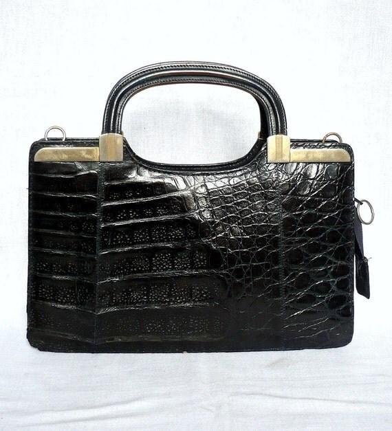 JOANE French Vintage Black Leather with Crocodile Motif Handbag