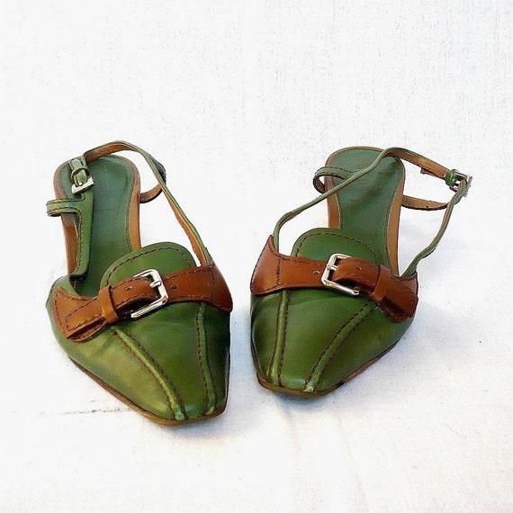 PRADA Vintage Bicolors Slingback Low Heel Leather  Shoes