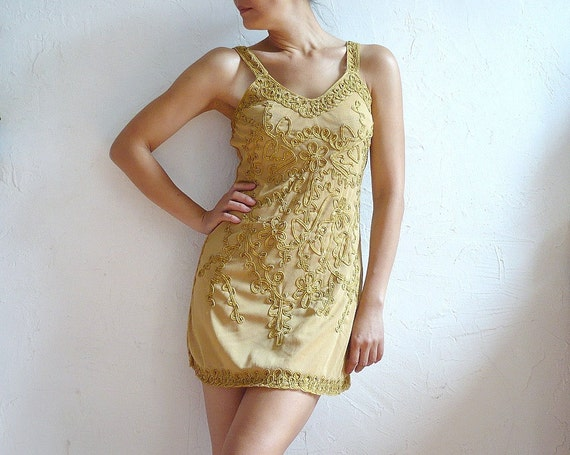 LOU French Vintage Embroidery Mini Dress