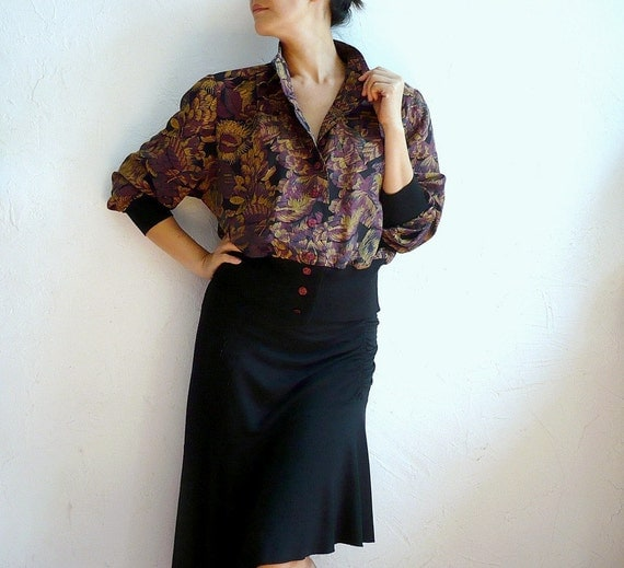 RAVENS French Vintage Blouse with Stand Collar