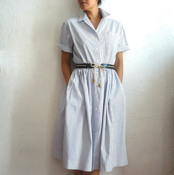 Vintage Ralph Lauren Buttons up Shirt Dress in White nd Blue Stripes