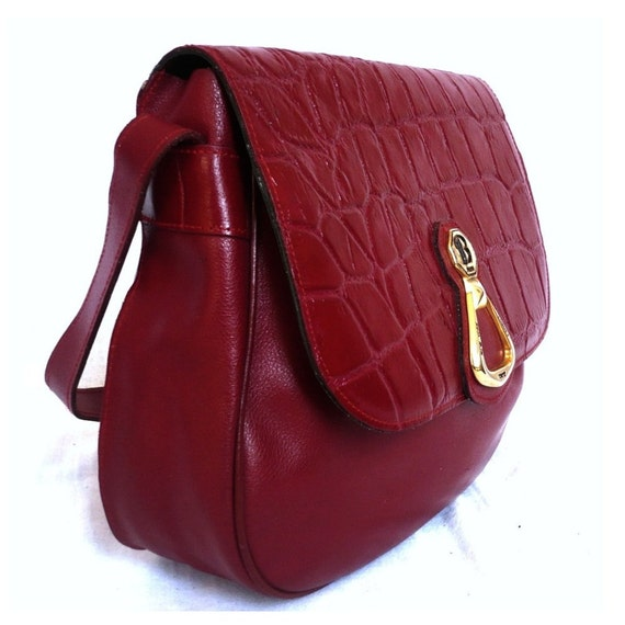 LILA French Vintage Cherry Red Leather Satchel / Shoulder Bag