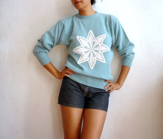 ETOILE french Vintage Bubblegum Green Wool Angora Sweater with Crochet Star Doily