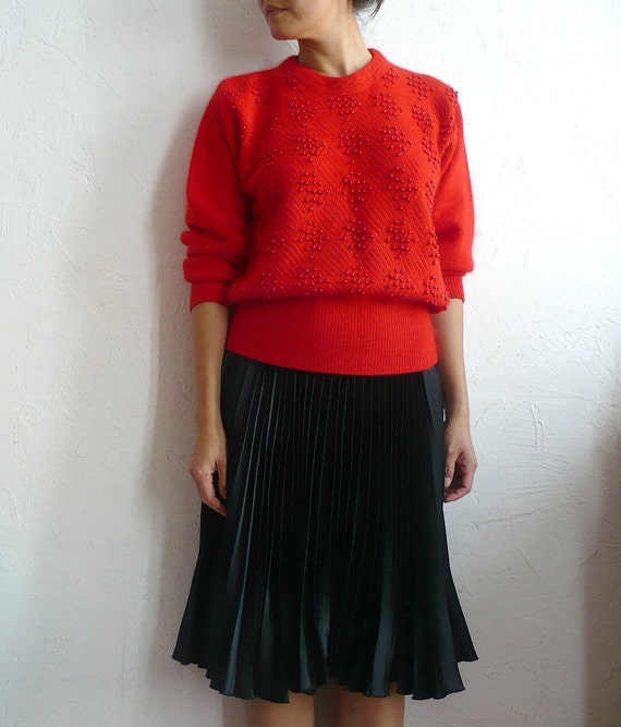 LOU French Vintage Angora blend Red Knit Blouse