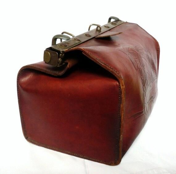 KATE French Vintage Brown Leather Docter Bag / Shoulder Bag