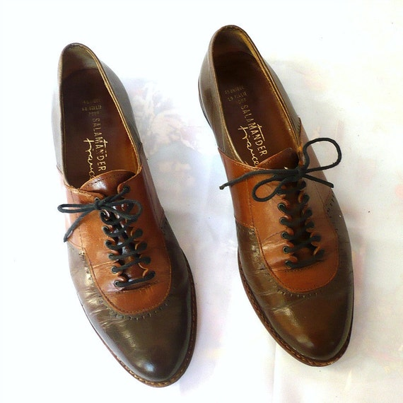SALAMANDER French Vintage Bicolors Leather Lace up Oxford