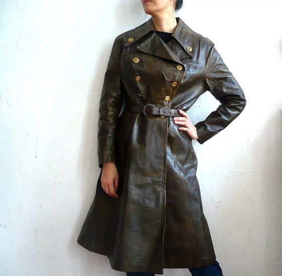 CHARLOTTE French VIntage 70s Brown Leather Coat