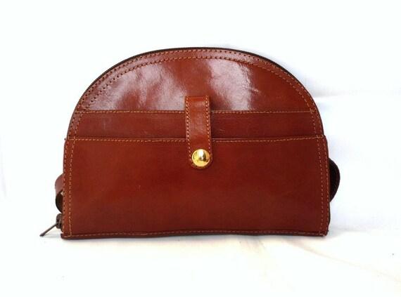 BILLIE French Vintage Brown Leather Belt Bag / Cross over Bag