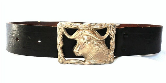 BUFFALO French Vintage Black Leather with Silver Metal Buckle