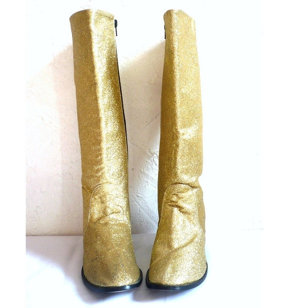 CLOCLO French Vintage 80s Gold Glittery Boots