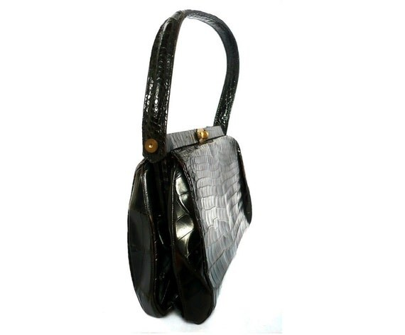 CAROL French Vintage 50s Crocodile Motif Leather Handbag