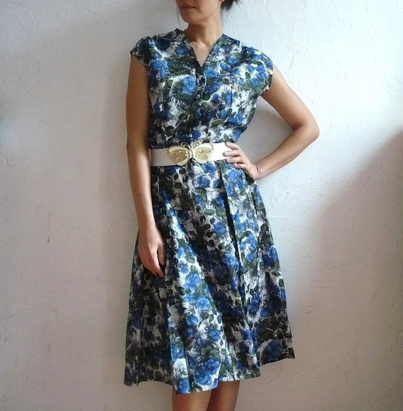 BETTY French Vintage 50s Floral Midi Dress