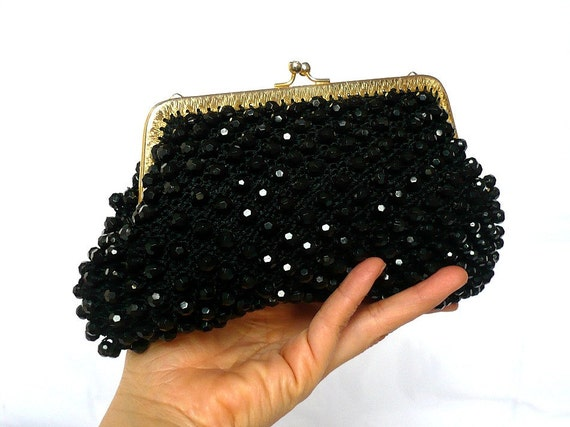 SUE French Vintage Black Beads Crochet Pursewith Gold plated Frame