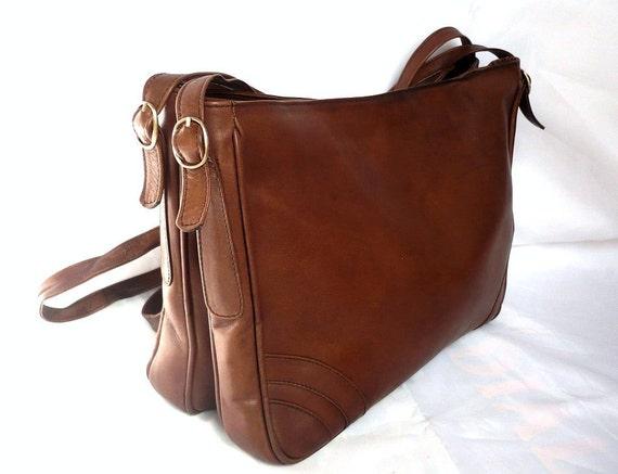 LUCY French Vintage Brown Leather Shoulder Bag