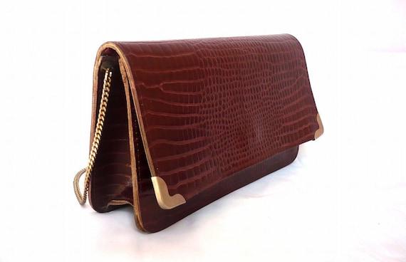 TILDA French Vintage Bordeaux Crocodile Motif Leather Purse / Clutch /Shoulder Bag