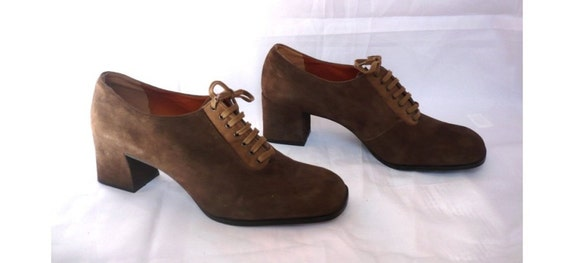 MISS BALLY French Vintage Brown Suede Lace up High Heels Oxford