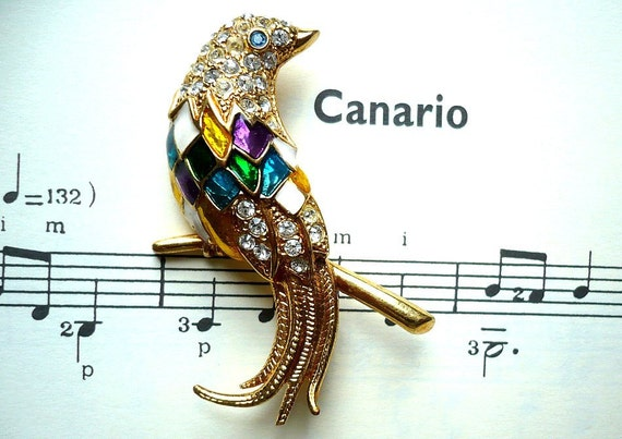 CANARIO French Vintage CARVEN Bird Brooch