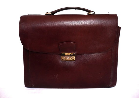 PATRICK French Vintage Dark Bordeaux Leather Briefcase