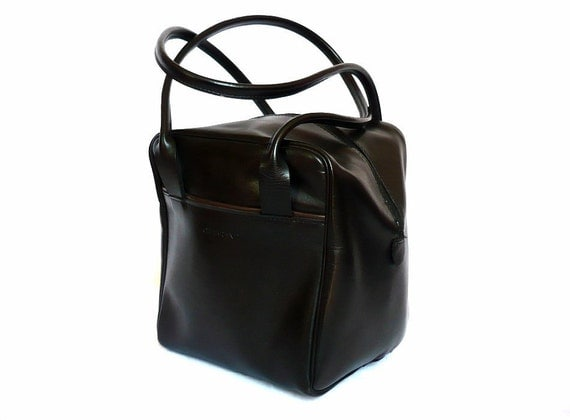 CHABRAND French Vintage Black Leather Square Shoulder bag