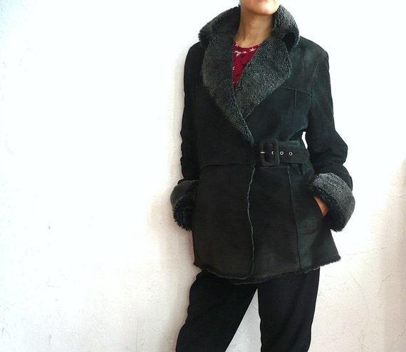 reserved for gemma DERHY French Vintage Bottle Green Suede Shearling Jacket/Coat