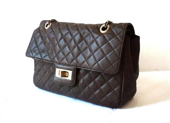 COCO French Vintage Dark Brown Quilted Leather Handbag / Shoulder bag