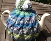 Knitted tea cosy - Tweed Cable Design - Blue/Green