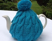 Knitted tea cosy - Turquoise Blue Cable Design