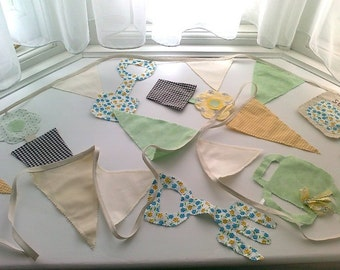 Bunting - Special Edition Garden Shapes & Flags Banner, in a shabby chic design