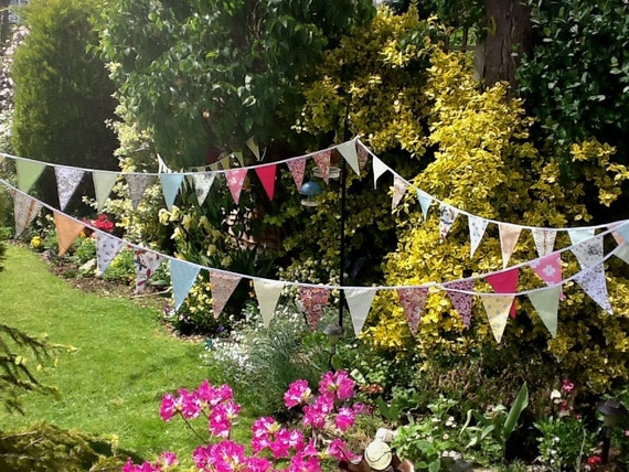 Extra Long Bunting  Pastel Colours-  50 flags - 32 ft Long, weddings, parties, decoration
